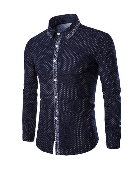 Turn Down Collar Small Polka Dot Men Shirt - Bychicstyle.com