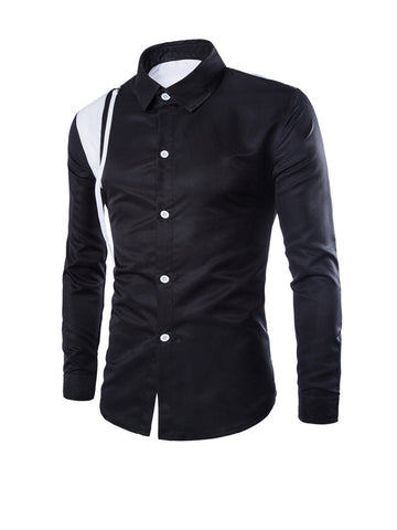 Streetstyle  Casual Turn Down Collar Patchwork Color Block Men Shirt