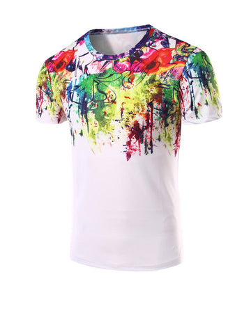 Colorful Round Neck Abstract Print T-Shirt - Bychicstyle.com