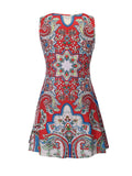 ByChicStyle Loose Round Neck Plus Size Shift Dress In Tribal Printed - Bychicstyle.com
