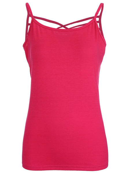 Solid Spaghetti Strap Hollow Out Sleeveless T-Shirt - Bychicstyle.com