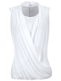 ByChicStyle Solid Ruched Chffion Sleeveless T-Shirt - Bychicstyle.com