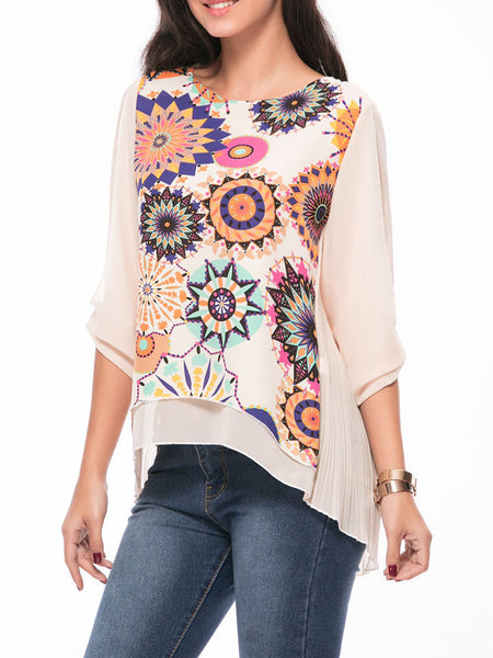 Round Neck  Printed High-Low Chiffon Blouse - Bychicstyle.com