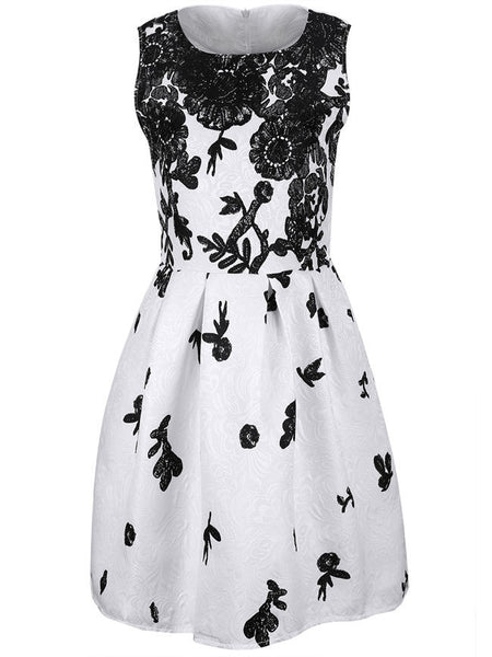 Round Neck Printed Jacquard Skater Dress - Bychicstyle.com