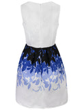 ByChicStyle Casual Awesome Printed Round Neck Jacquard Skater Dress
