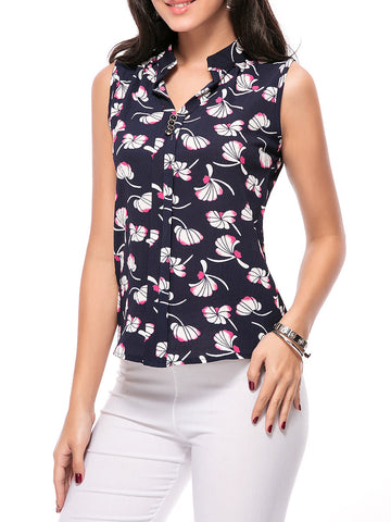Chic Split Neck Printed Sleeveless T-Shirt - Bychicstyle.com