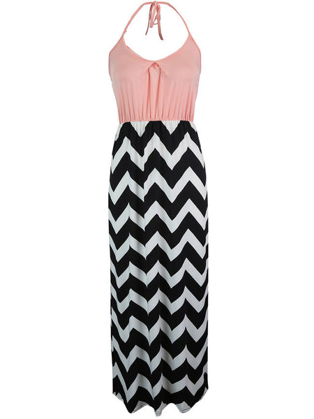 Halter Color Block Zigzag Striped Maxi Dress - Bychicstyle.com