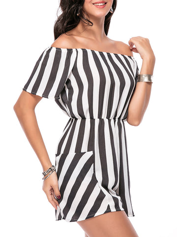 Off Shoulder Vertical Striped Straight Romper - Bychicstyle.com