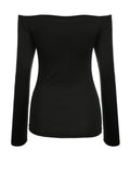 ByChicStyle Off Shoulder Solid Long Sleeve T-Shirt In Black - Bychicstyle.com