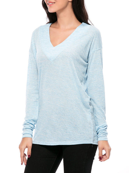 ByChicStyle Casual Basic Designed Deep V-Neck Plain Long Sleeve T-Shirt