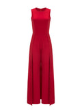 ByChicStyle Solid Round Neck Maxi Jumpsuit In Red - Bychicstyle.com