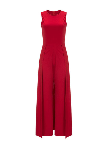 Solid Round Neck Maxi Jumpsuit In Red - Bychicstyle.com