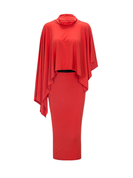 Solid High Neck Cape Sleeve Top And Pencil Slit Skirt - Bychicstyle.com