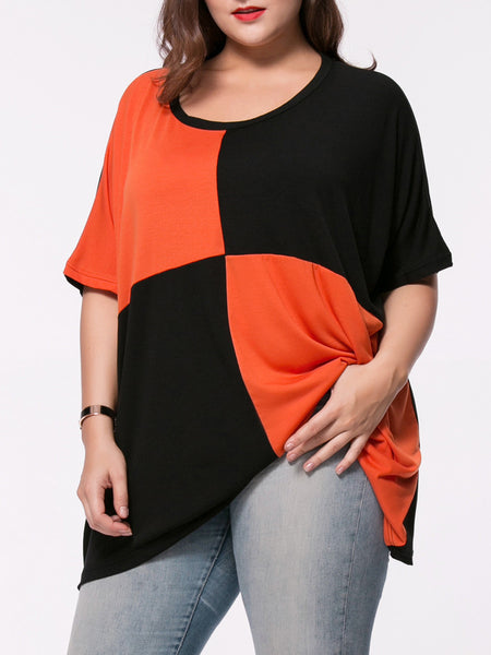 Oversized Color Block Round Neck Plus Size T-Shirt - Bychicstyle.com