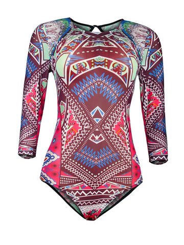 Casual Back Hole Tribal Printed One Piece