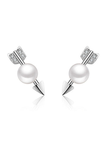Casual Arrow Shape Pearl Earring