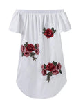 ByChicStyle Off Shoulder Embroidery Polyester Shift Dress - Bychicstyle.com