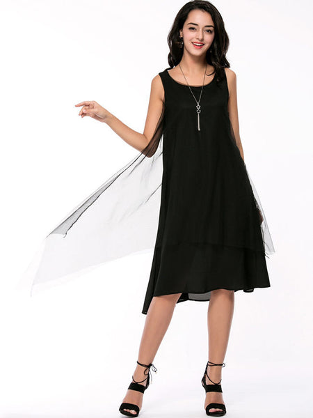 Round Neck Solid Chiffon Layered Shift Dress - Bychicstyle.com