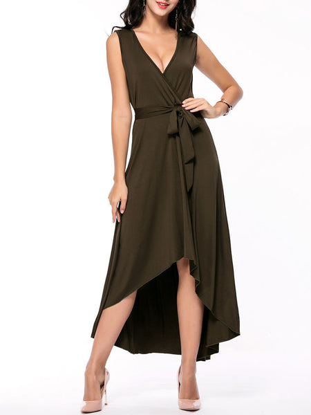 Swing High-Low Deep V-Neck Solid Maxi Dress - Bychicstyle.com