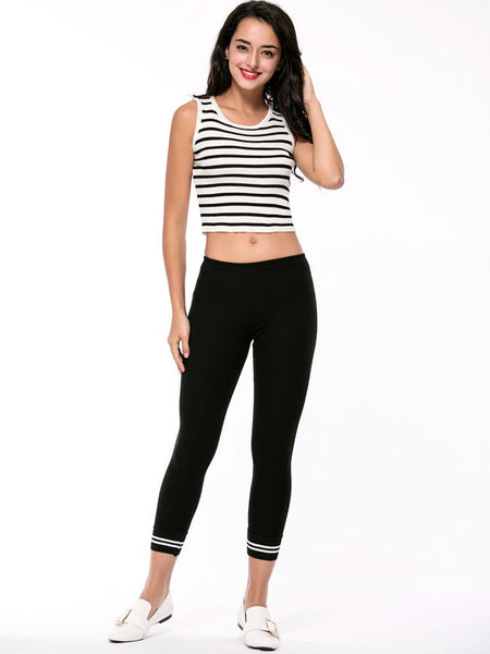 Striped Slim-Leg Low-Rise Legging - Bychicstyle.com