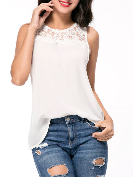 Solid Round Neck Patchwork Hollow Out Sleeveless T-Shirt - Bychicstyle.com