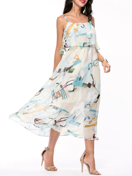 Spaghetti Strap Abstract Print Chiffon Maxi Dress - Bychicstyle.com