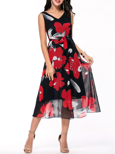 V-Neck Floral Hollow Out Chiffon Maxi Dress - Bychicstyle.com