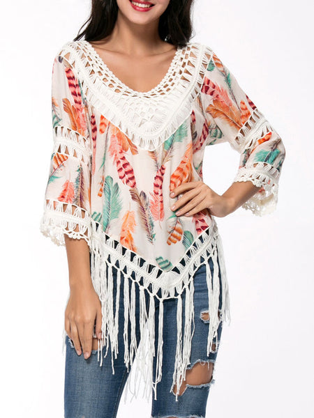 Casual Deep V-Neck Fringe Crochet Feather Hollow Out Blouse