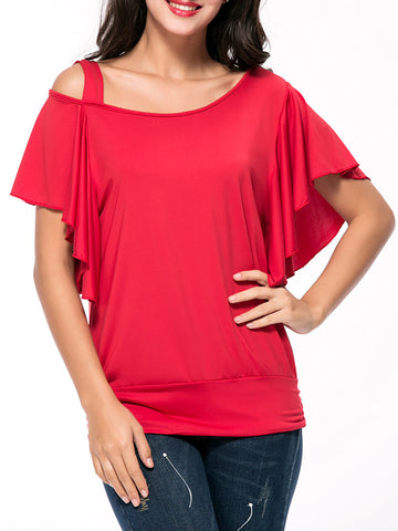 Casual Attractive Asymmetric Neck Plain Cape Sleeve T-Shirt