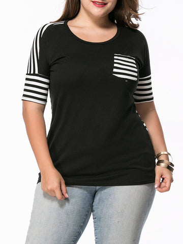 High-Low Round Neck Patch Pocket Striped Plus Size T-Shirt - Bychicstyle.com