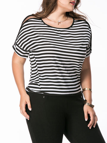 Round Neck Vented Hollow Out Striped Plus Size T-Shirt - Bychicstyle.com
