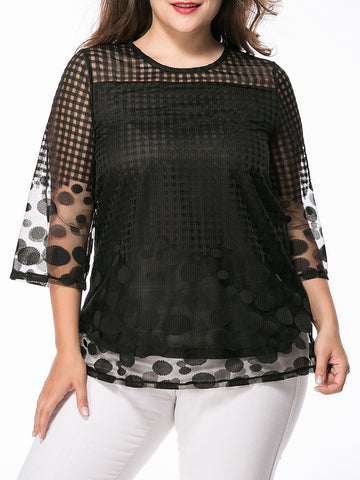 See-Through Plaid Plain Polka Dot Plus Size Blouse - Bychicstyle.com