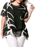 Streetstyle  Casual Asymmetric Hem Hollow Out Printed Cape Sleeve Plus Size Blouse