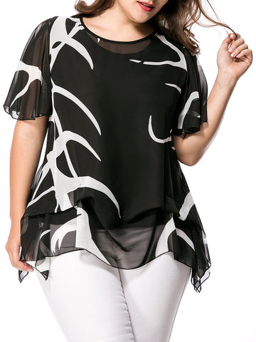 Casual Asymmetric Hem Hollow Out Printed Cape Sleeve Plus Size Blouse