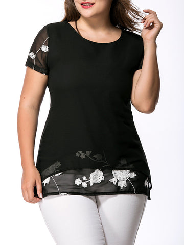 Round Neck Printed Plus Size T-Shirt - Bychicstyle.com