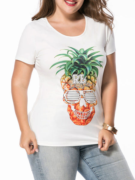 Round Neck Trendy Pineapple Printed Plus Size T-Shirt - Bychicstyle.com