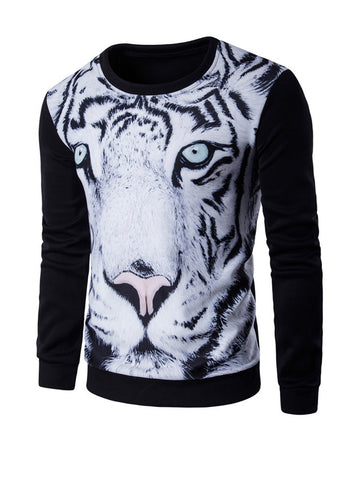 Casual Round Neck Animal Printed Men Sweatshirt
