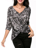 ByChicStyle Casual V-Neck Ruched Animal Printed Long Sleeve T-Shirt