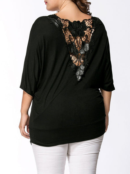 Casual V-Neck Hollow Out Plain Batwing Sleeve Plus Size T-Shirt