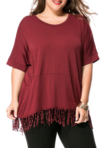 Loose Fringe Pocket Round Neck Plain Plus Size T-Shirt - Bychicstyle.com
