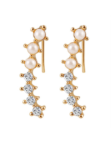 Casual Artificial Pearl Rhinestone Earring