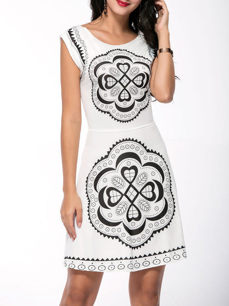 Unique Printed Round Neck Back Hole Skater Dress - Bychicstyle.com