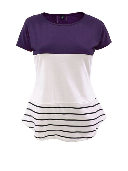 Casual Color Block Striped Short Sleeve T-Shirt - Bychicstyle.com
