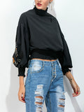 ByChicStyle Casual Embroidery High Neck Exposed Navel Batwing Sleeve T-Shirt