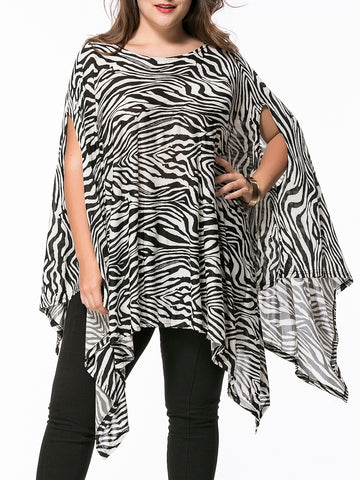 Casual Zebra Printed Asymmetric Hem Boat Neck Plus Size T-Shirt