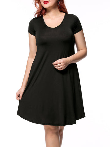Casual Basic Loose V-Neck Solid Plus Size Shift Dress