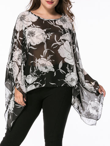Casual Asymmetric Hem Floral Hollow Out Chiffon Plus Size Blouse