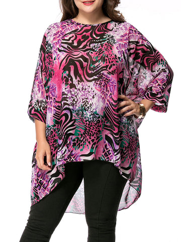 High-Low Animal Printed Round Neck Chiffon Plus Size Blouse - Bychicstyle.com
