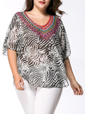 ByChicStyle Loose V-Neck Animal Printed Chiffon Plus Size Blouse - Bychicstyle.com