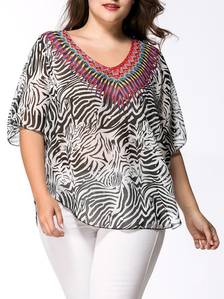 Loose V-Neck Animal Printed Chiffon Plus Size Blouse - Bychicstyle.com